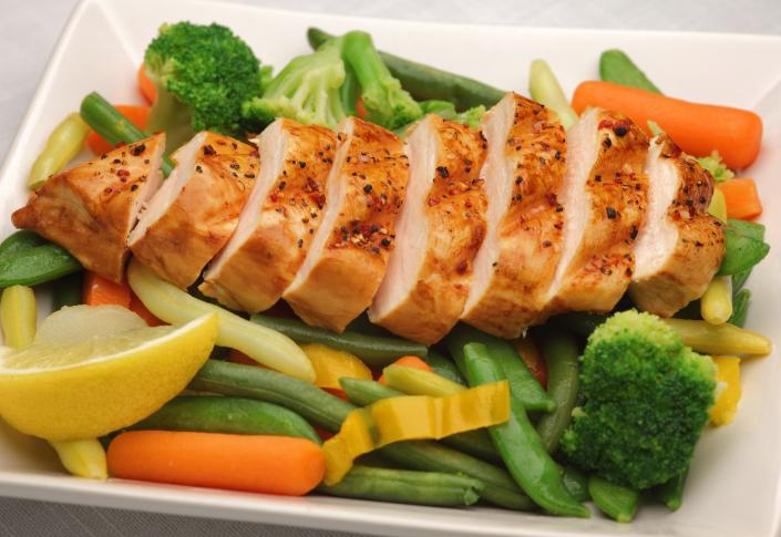 Chicken with fresh vegetable medley.