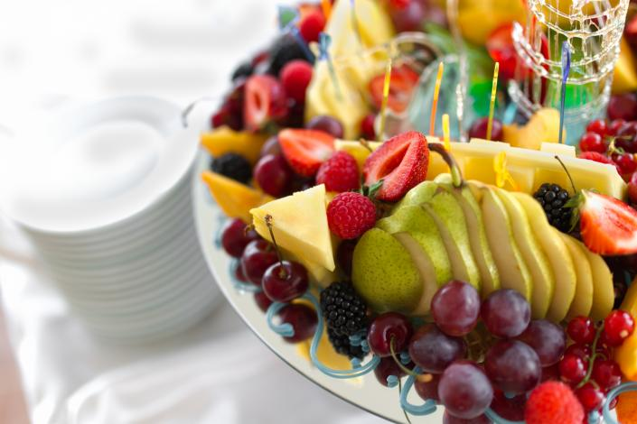 [Image: Our delicious fruit platter is always prepared with the freshest of fruit.]
